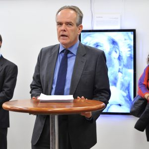 Etienne Krug, Director, Department of Violence and Injury Prevention and Disability, WHO addresses during the 3D photo exhibition during the Launch of the International Perspectives on Spinal Cord Injury on the International Day of People with disability, WHO Headquarters, Geneva. Tuesday 3 December. Photo by Violaine Martin